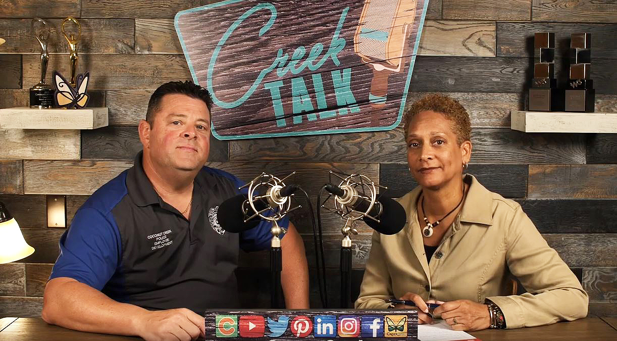 Officer Larry Christopher and Yvonne Lopez on CreekTALK set