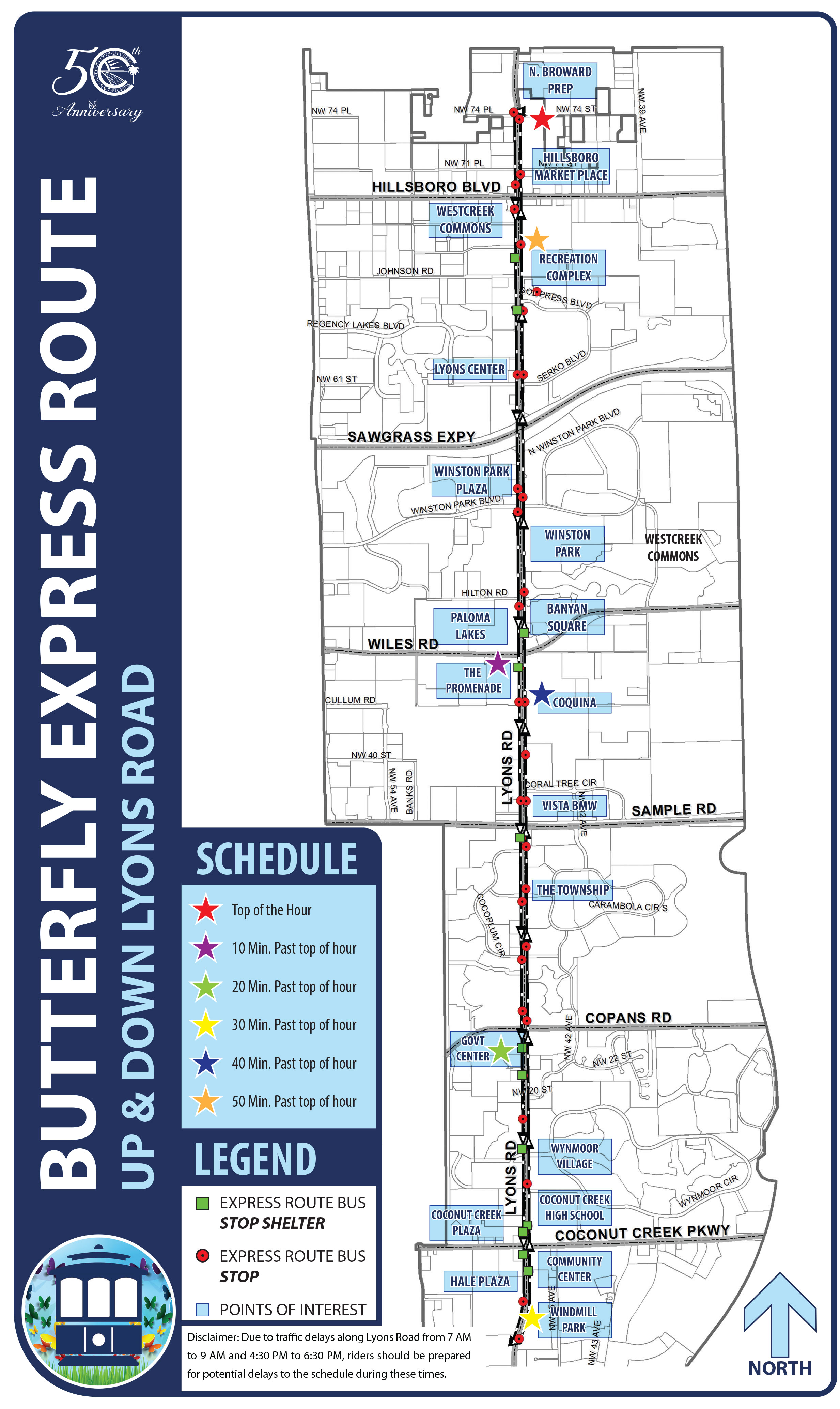 Coconut Creek Butterfly Express Route